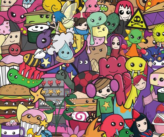 Colourful cute poster / art print