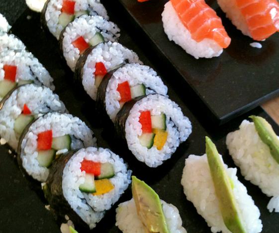 Sushi rolls and nigiri