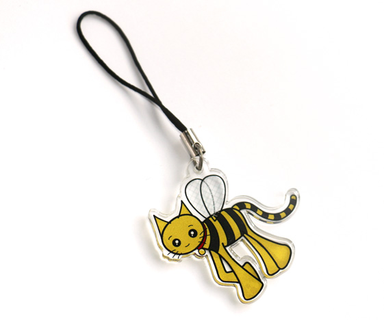Cute cat bee charm