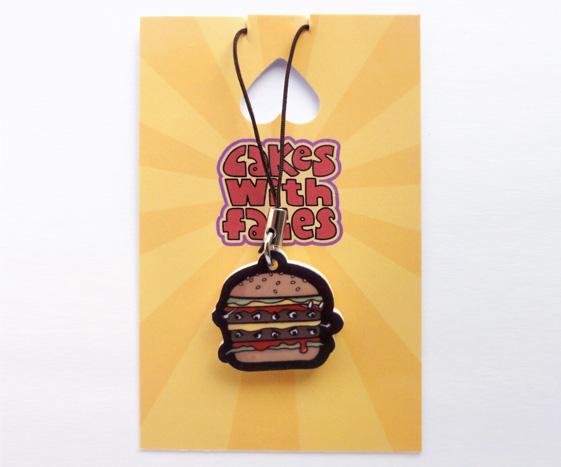 Burger Phone Charm