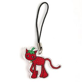 Cute strawberry cat charm