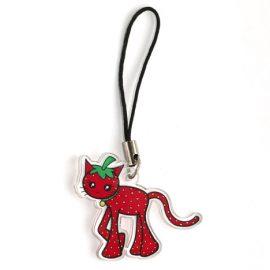 Cute strawberry cat charm