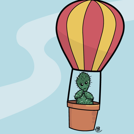 Cute Cactus Hot Air Balloon