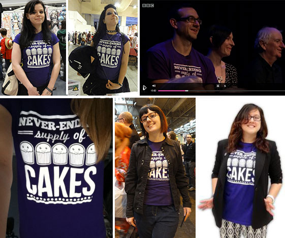 Never ending cakes t-shirt customer photos
