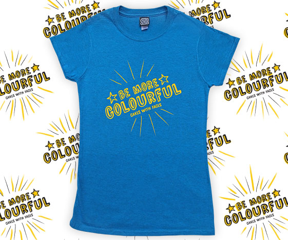 Blue be more colourful ladies t-shirt