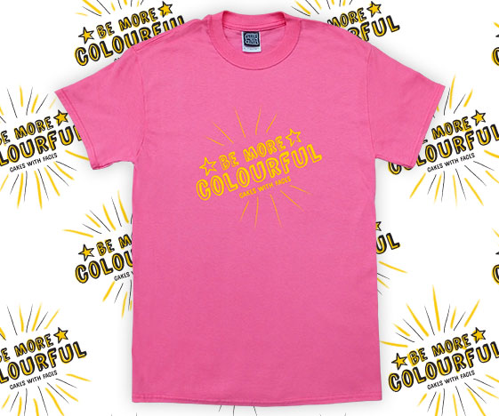 Bright pink be more colourful mens t-shirts