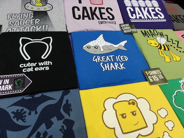 Colourful t-shirts at MCM Manchester Comic Con