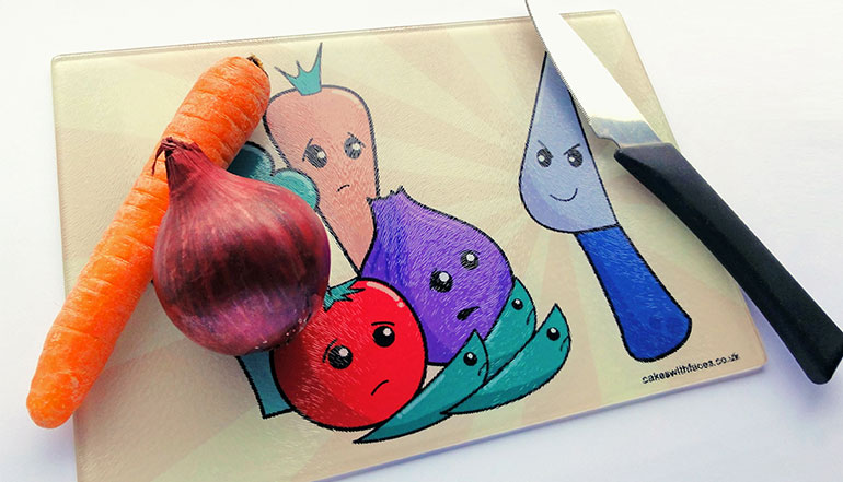 Funky vegetable chopping board