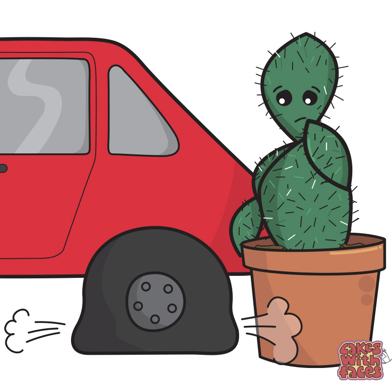Cactus Flat Tyre Cartoon