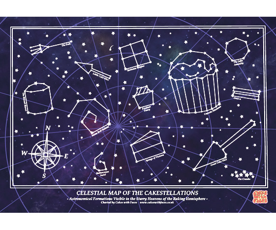 Starry Night Limited Edition Cake Star Constellations Art Print