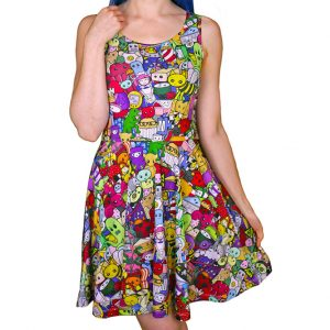 Cute Explosion Colourful Skater Dress for Women