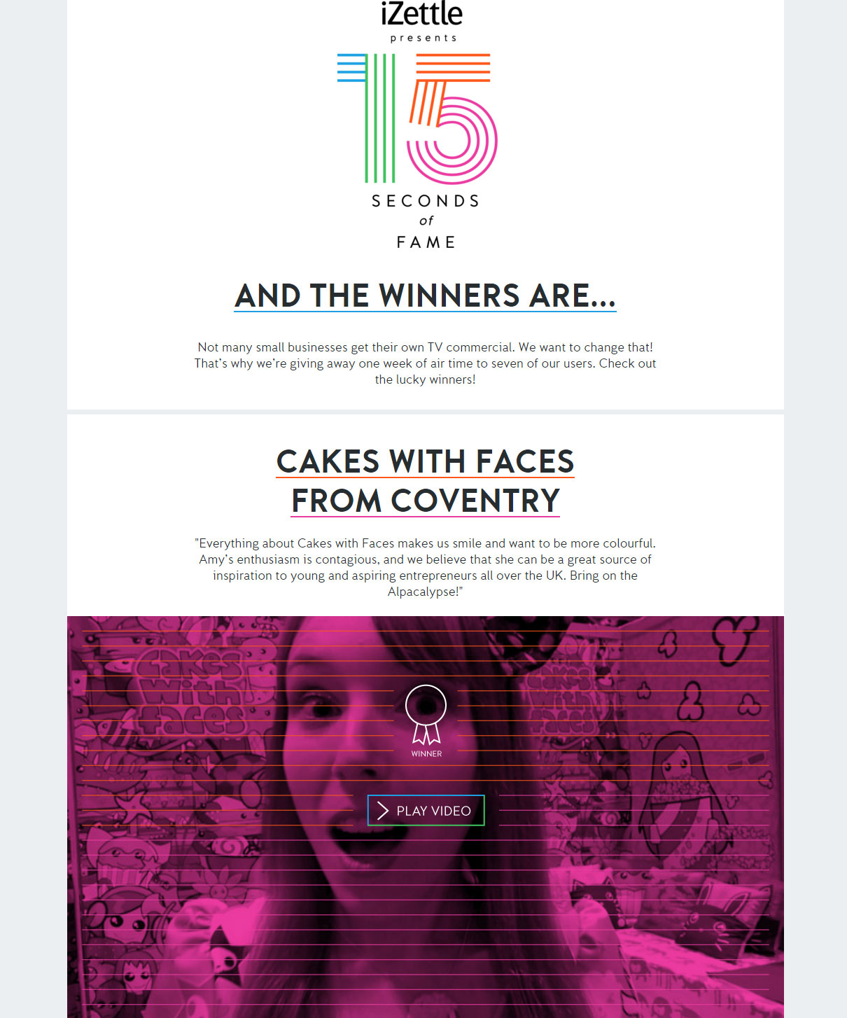iZettle 15 Seconds of Fame winner - Cakes with Faces