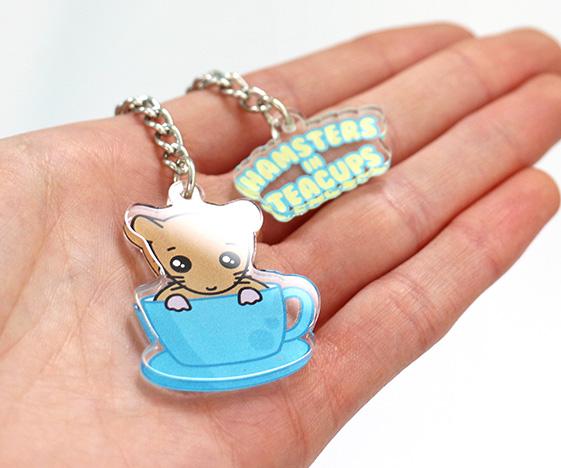 Cute hamsters in teacups keychain