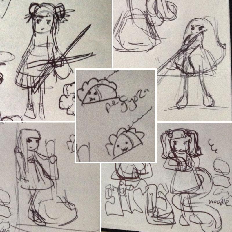 Tokyo Ramen Girls rough sketches