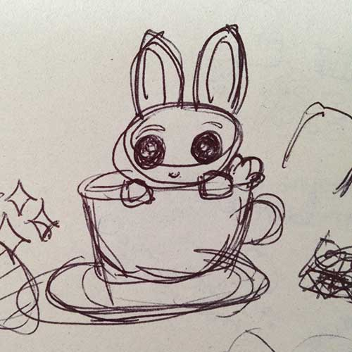 Bunnies in Teacups sketch