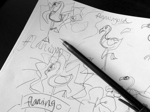 Flamingo rough sketch