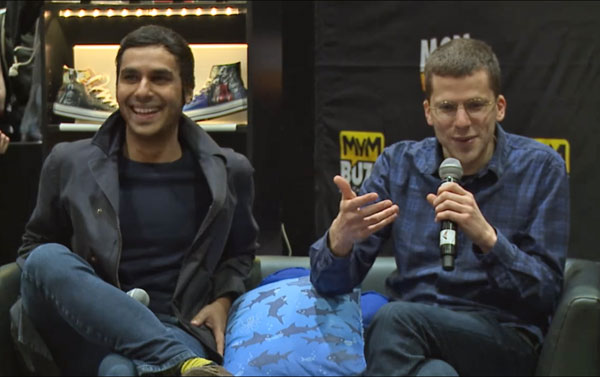 Shark Cushion with Jesse Eisenberg and Kunal Nayyar (Raj from the Big Bang Theory)