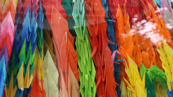 Paper cranes in Hiroshima Peace Park