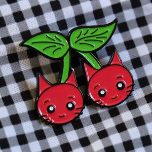 Cherry Cats Enamel Pin Badge
