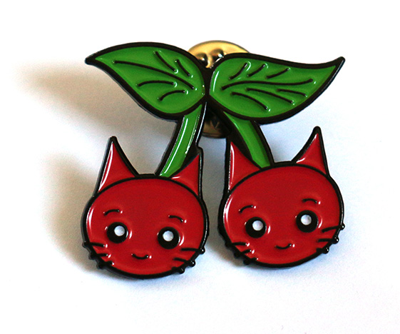 Cute cherry cats enamel pin