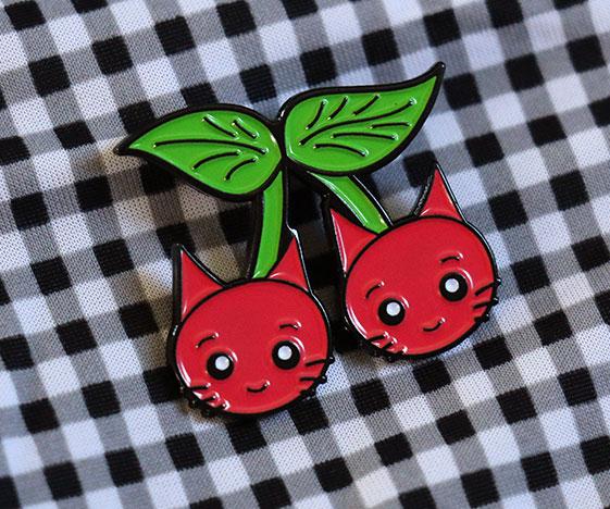 Cherry Cats Enamel Pin Badge