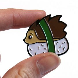 Kawaii Hedgehog Sushi Enamel Pin