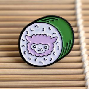 Alpaca sushi enamel pin badge