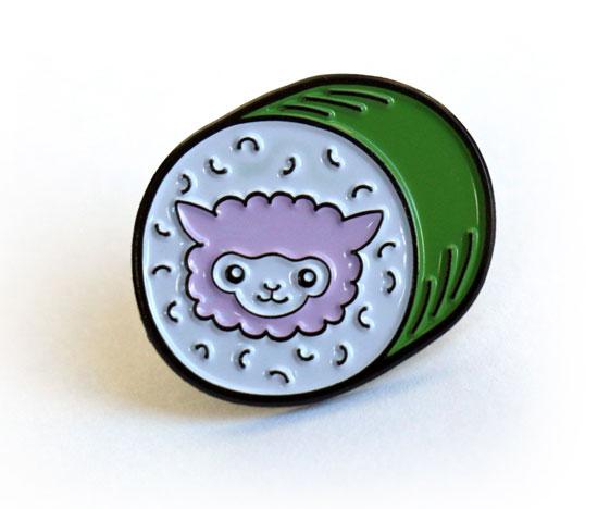 Alpaca sushi enamel pin