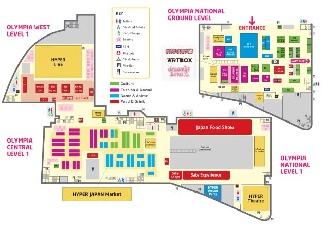 Hyper Japan Festival 2018 Floor Plan (Olympia)