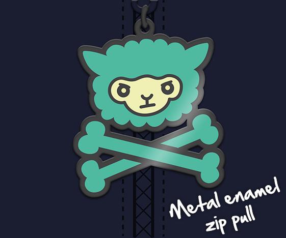 Llamageddon Skull & Crossbones Zip Pull