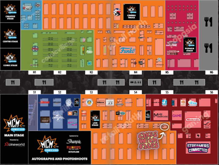 MCM London Comic Con Floor Plan - May 2018