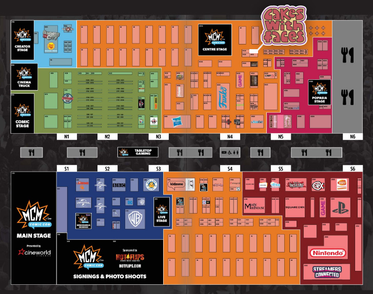 MCM London Comic Con Floor Plan October 2018