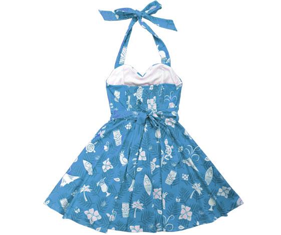 Blue Kawaiian Dress Back