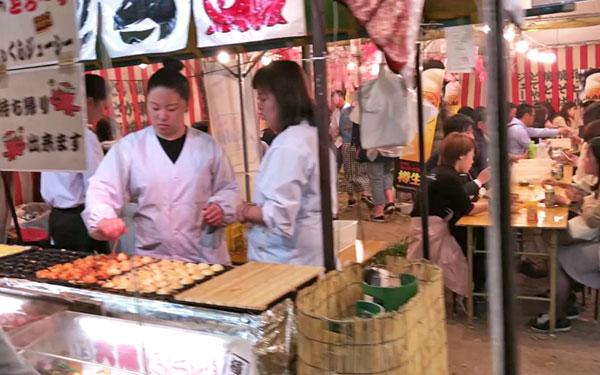 Japanese street food stalls