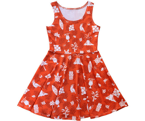 Red Kawaiian Skater Dress