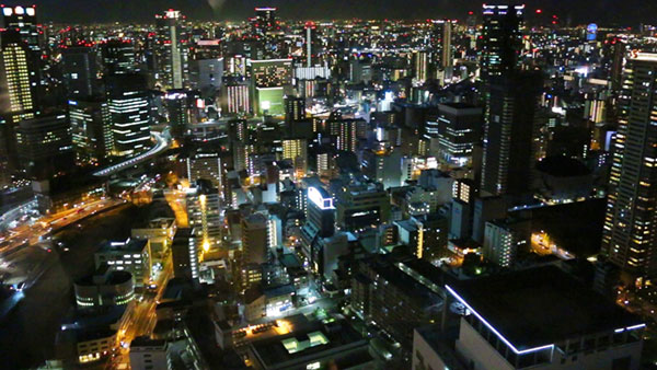 View of Osaka at night from the Umeda Sky Building