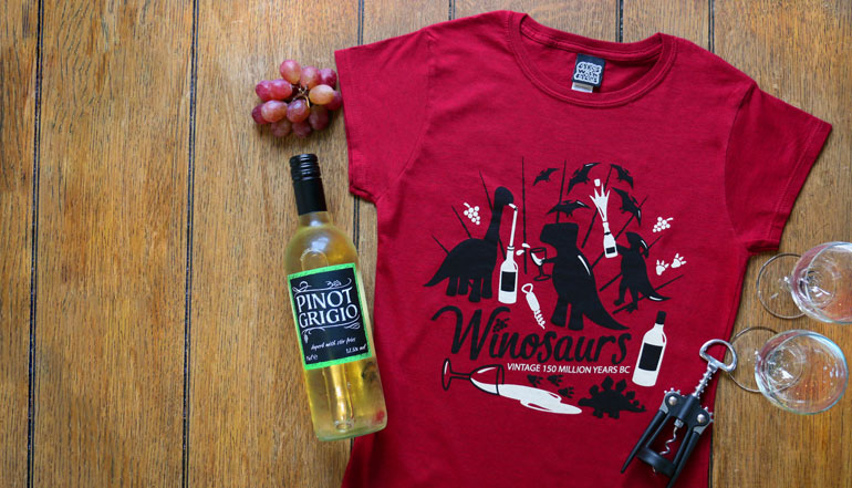 Wine / Dinosaur T-Shirt for Adults