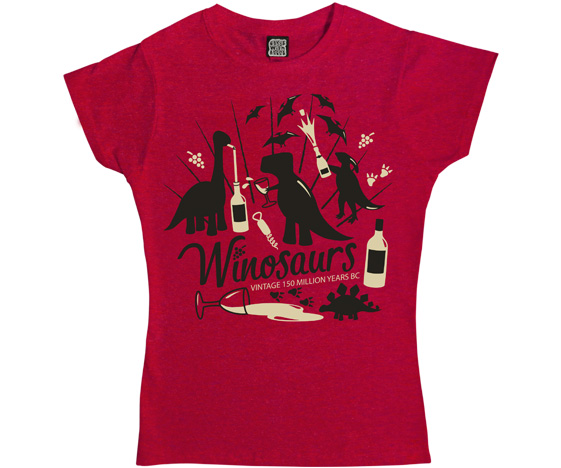 Womens T-Shirt: Dinosaurs & Wine