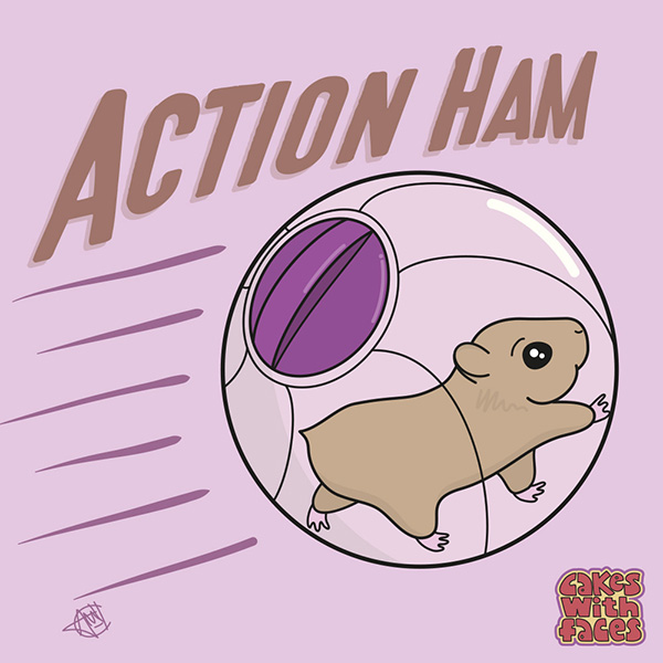 Action Ham - Cute Hamster Art