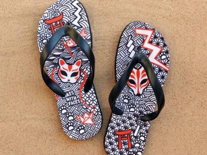 New Japanese Fox Flip Flops